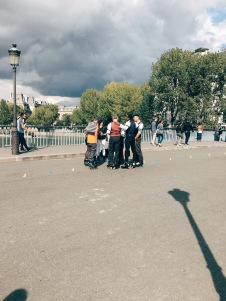 a group of rollerskaters