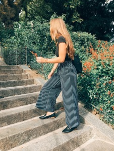 classic stripes, elegant cap sleeved top