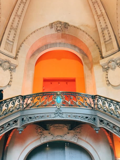 taken from the 2nd floor landing, looking up into the iconic orange of Hermès